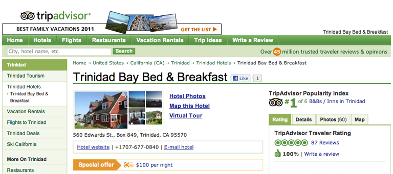 trip adviser page rating us #1 by guest reviews